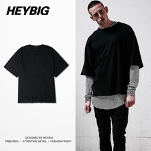 Baggy Top Tee HEYBIG Brand Oversized Tshirts Skateboard tshirt Bboy Clothing Men Hiphop Bat Sleeved T shirt China Size S-XL