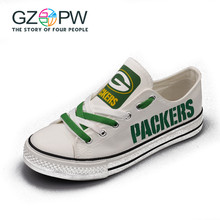 Gzpw Wisconsin Green Bay Packers Super Bowl Printing Canvas Shoes Elite Aaron Rodgers Champ Fans Customize Painted Shoe Souvenir(China)
