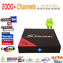 E8 Amlogic S905X Android 6.0 Tv Box Wifi 1GB RAM 8G ROM HD 4K Smart Media Player With 2000+1 Year Eupore IPTV Italy Arabic ip TV