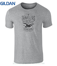 GILDAN Cool Slim Fit Letter Printed Vintage Style Travelers Ducks Badge Icon T Shirt(China)
