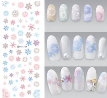 NEW DS369 Snowflakes Snow Design Water Transfer Nails Art Sticker Decal Colorful Winter Nail Wraps Xmas Christmas(China)