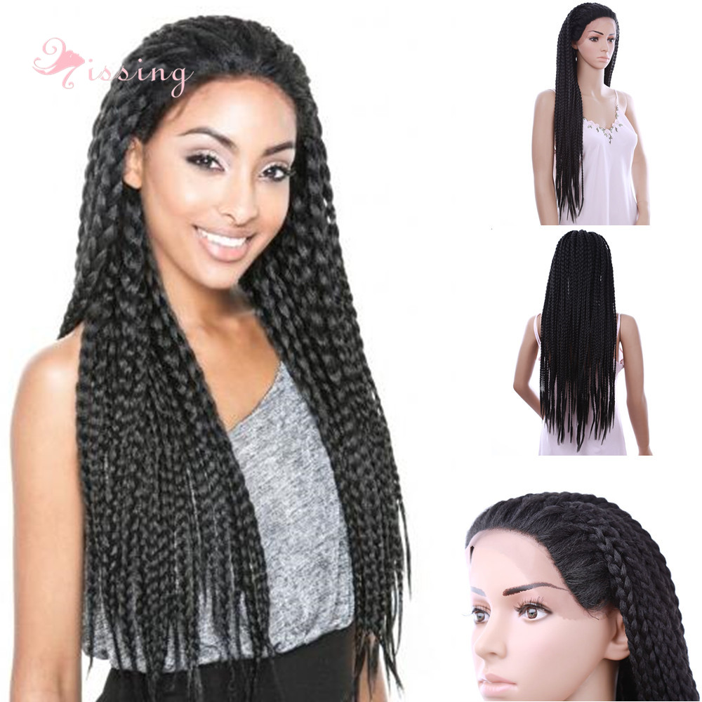 30inch Box Braid wigs Black wig Long Synthetic Natural Cheap Hair African Braiding Wigs Braided Lace Front wig for Black Women<br><br>Aliexpress