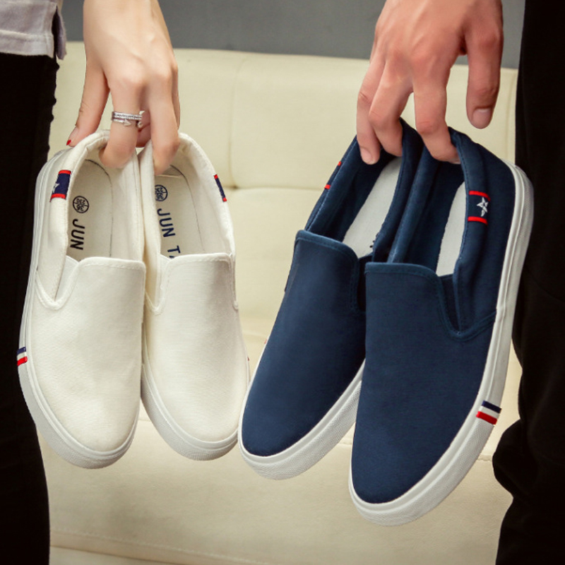 New Tide Couple Canvas Casual Shoes Street Fashion Black Blue Star Print Elastic Band Comfortable Brand Flat Shoes<br><br>Aliexpress
