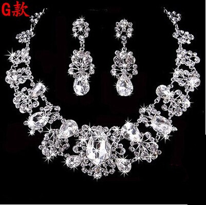High Quality Silver Luxury Oversize Crystal Wedding Jewelry Sets Hollow-out Flower Necklace&Earrings Set For Woman (5)