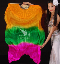 Real Silk Long Fan Veil For Belly Dance Thicker Oriental Dancing Veil Fan Right Left Hand 180cm Orange Green Rose(China)