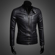 Buy Top Designer Men's Spring Autumn Fashion Motorcycle Leather Jacket Stand Collar Zipper Slim Jacket for $83.79 in AliExpress store