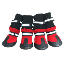 Waterproof Four-sided Fabric High Heel Pet Dog Shoes Anti-skid Rain Boots For Medium Large Dogs Red Black 4 Pcs/set Dog Shoes(China)