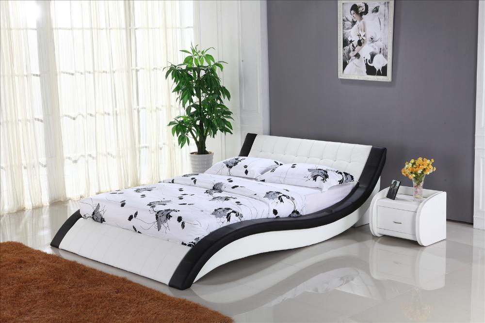 . White Leather Bed with Genuine Leather  King size Soft Bed  Modern