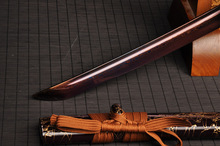 High Quality HandMade Japanese Sword Katana Sharpened Purple Damascus Steel Blade Wood Sheath HL