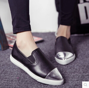 European and American New Women Casual Pointed Toe Loafers Flats PU Casual shoes Ballet Ballerina women Flat Shoes<br><br>Aliexpress