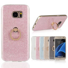 Luxury Bling Glitter Flexible Phone Case For Samsung Galaxy S3 S4 S5 S6 edge S7 S8 Plus Finger Holder Rotated Ring Cover