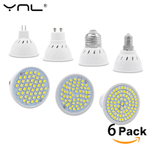 YNL 6pcs/lot Lampada LED Bulb GU10 E27 E14 MR16 3W 5W 7W 220V 240V Bombillas LED Lamp SMD 2835 48LED 60LED 80LED Spotlight(China)