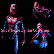 Bagley's Ultimate Spider-Man Costume Lycra Spandex 3D Print Zentai Spiderman Halloween Cosplay Full Body Suit with Spidey Lenses