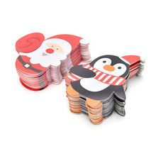 Wholesale 50pcsLovely Penguin and Santa Claus Christmas Candy and Lollipop Decoration Paper Card Cute Gift Package Decor Card