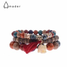 Amader 2017 New Fashion Bohemian Style Tassel Bracelet Set Top Quality Summer Charm Bracelet Elephant Beads Jewelry For Ladies