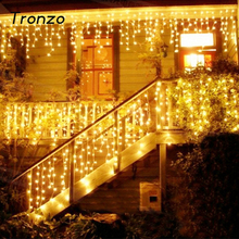 Tronzo Christmas Tree LED Light Ornament 4m Multicolor Icicle Curtain Party Wedding Decoration Lights For Home 2017 EU Plug(China)