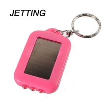 JETTING Excellent Quality Mini Solar Power Rechargeable 3 LED Flashlight Keychain Light Torch Ring Holder