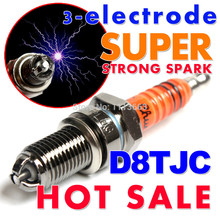 Three-electrode Super D8TC D8TJC Motorcycle Spark Plug 125cc 150cc 200cc 250cc ATV Dirtbike Moped Scooter D8EA D8REA D8RTC