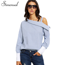 Buy Simenual One shoulder slash blouse shirt female tops vertical striped long sleeve women's blouses shirts foldover boat neck tops for $10.99 in AliExpress store