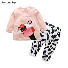 high quality winter hot sale baby girl clothes casual long-sleeved T-shirt+Pants suit Tracksuit the cow suit of the girls