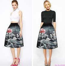 Autumn Grey Slim Sports Skater Skirts Vintage Marilyn Monroe Printed Ladies Tennis High Waisted Midi Length Pleated Skirt