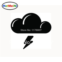 HotMeiNi 4*3.5' Wholesale THUNDER STORM Car Sticker for Car Vinyl Window Decal Laptop Cloud Rain Lightning Black/Sliver(China)