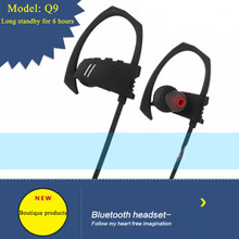 Yulubu Q9 High Quality Neckband Wireless Bluetooth V4.1 Headphones Sports Ear Hook Earphone Headset Earbuds for All Smart Phone