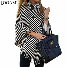 LOGAMI Turtleneck Striped Ponchos And Capes Long Womens Knitted Cape Poncho Femme Ladies V Neck Sweaters Black&White