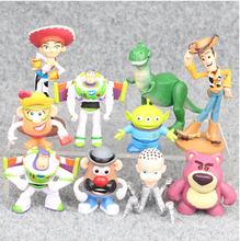 10pcs/lot 7.5-10cm Toys Story 3 Buzz Lightyear Woody Action Figures Toys Brinquedo Model Toy Christmas Gifts For Kids(China)