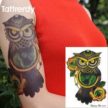 1PC Flash Temporary Tattoo Sticker for Men Women Arm Shoulder Makeup colored Fake Tattoos Owl Compass Rose Design Armband HB657