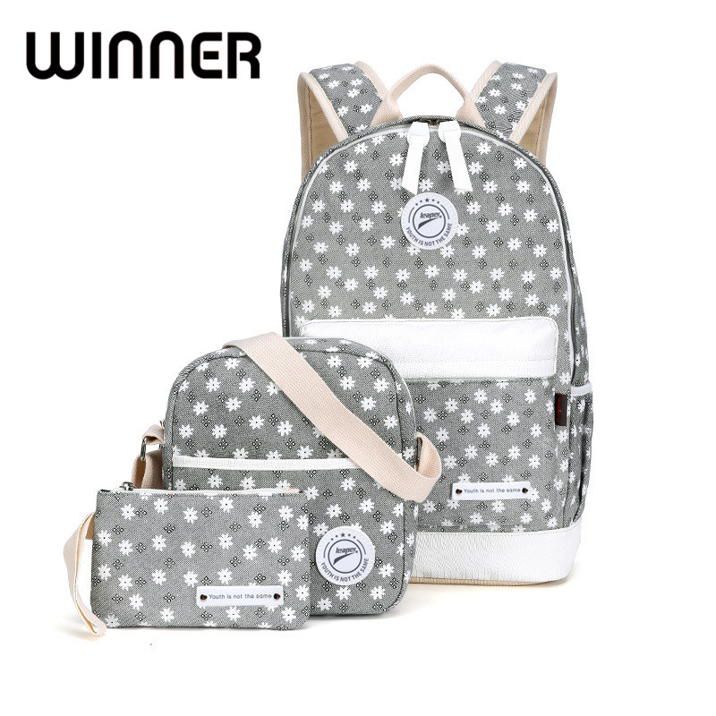 Winner Canvas Floral Printing Backpack Women School Bags for Teenage Girls Fresh Rucksack Laptop Backpacks Female Bagpack<br>