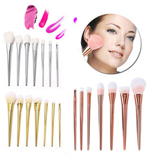 US Stock Gold Silver Rose Gold Brand new 7 Pcs Makeup Brushes Set Synthetic Hair Make Up Brushes Tools Cosmetic Foundation Brush(China)
