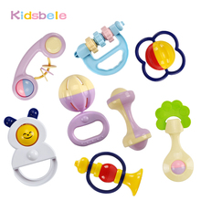 Baby Toys 5PCS Plastic Hand Jingle Shaking Bell+Kidsbele Infant Soft Bibs Newborn Baby Toys 0-12 Mnoths Teether Rattles Toys(China)