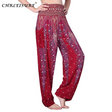 CHLEISURE 10 Colors Summer Beach Bohemian Pants Women High Waist Harem Pants Plus Size Loose Print Bloomers Trousers Women(China)