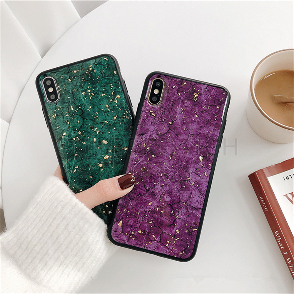 Luxury Green Diamond Crack Marble Phone Case For iphone 7 8 6 6s Plus Bee With Wing Funda cover for iphone XS MAX XR X back   (11)