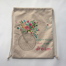 Bicycle and flowers print  Storage Bags Drawstring Backpack Baby Kids Toys Travel Shoes Laundry Lingerie Makeup Pouch