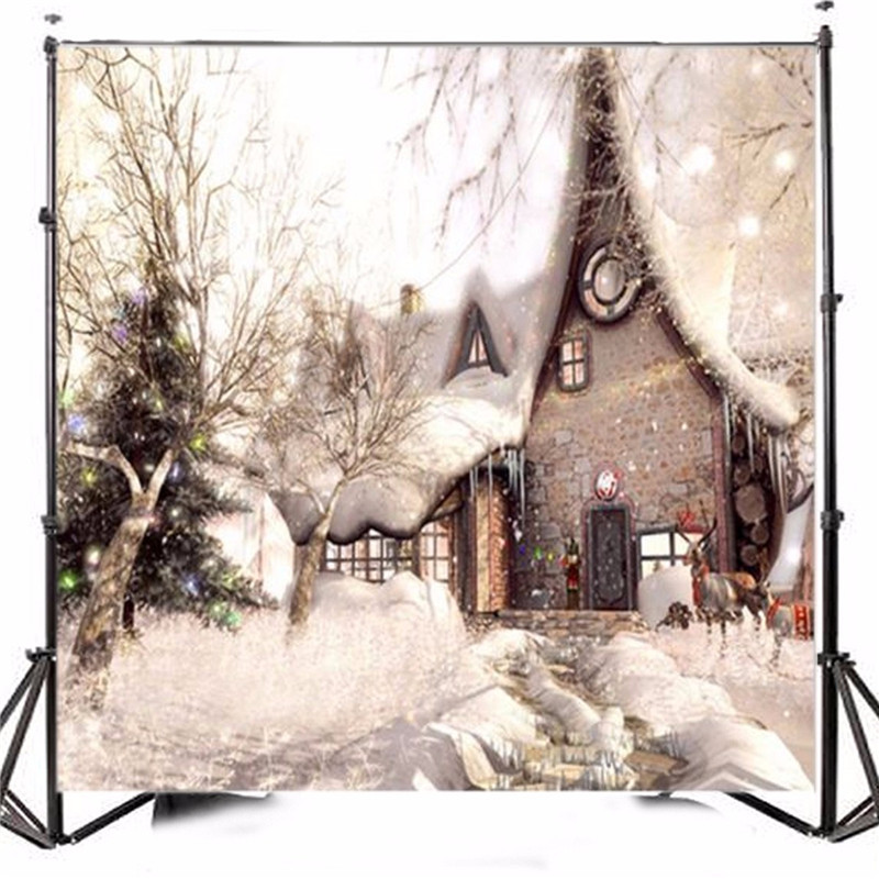 10x10ft Vinyl Photography Background Christmas Themed Houses Snowy photo Studio Props Photographic Backdrop 30cm x 30cm<br>