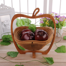 Collapsible Apple Shaped Bamboo Basket for Apple Pear Banana Fruit 1Pcs(China)