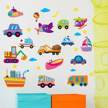 Children Room Remove Wall Adornment Bedroom Sofa Background Wall Posters Cartoon Cars Wall Stickers For Kids Rooms Car Sticker