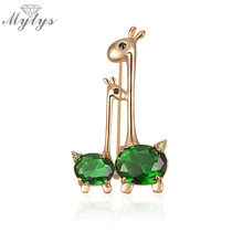 Mytys Green Crystal Animal Giraffe Sweet Mother-baby Brooch Pin New 18KGP GIFT On Sale X217