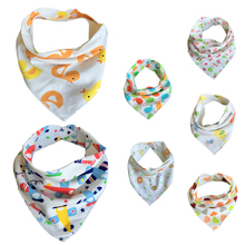 5pc/lot Baby Bibs 100% Cotton Triangle Head Scarf Boy Kerchief Girl Babador Bandana Dribble Bib(China)