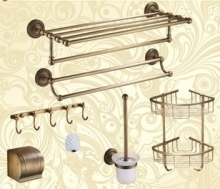 Luxury Antique Brass Bath Hardware Hanger Set Discount Package Towel Rack Bar Paper Holder Shelf Hook Brush Bathroom Accessories(China)