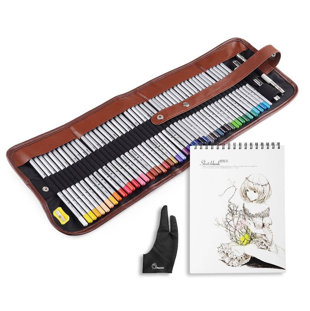 Marco Raffine Fine Art 48 Colored Pencils Drawing Non-toxic Pencils Set + A4 Sketchbook + Glove <br>
