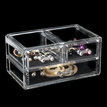 3 Compartment Cosmetics Divider Drawer Organizer Make up Jewelry Storage Container Clear Acrylic Jewelry Casket(China)