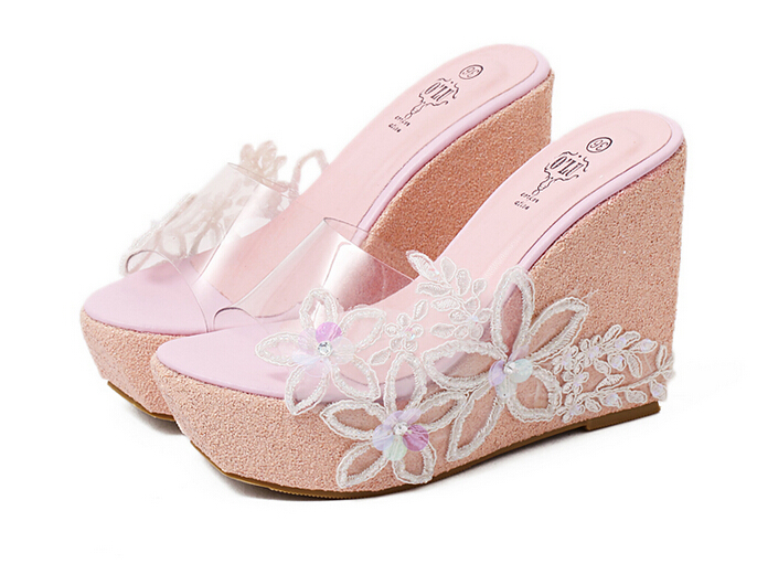 Transparent Sandals Platform wedge Sandals Shoes Sandale Femme thick sole high heels  Flip Flops Flower Lace Pearl Beach Sandals<br><br>Aliexpress
