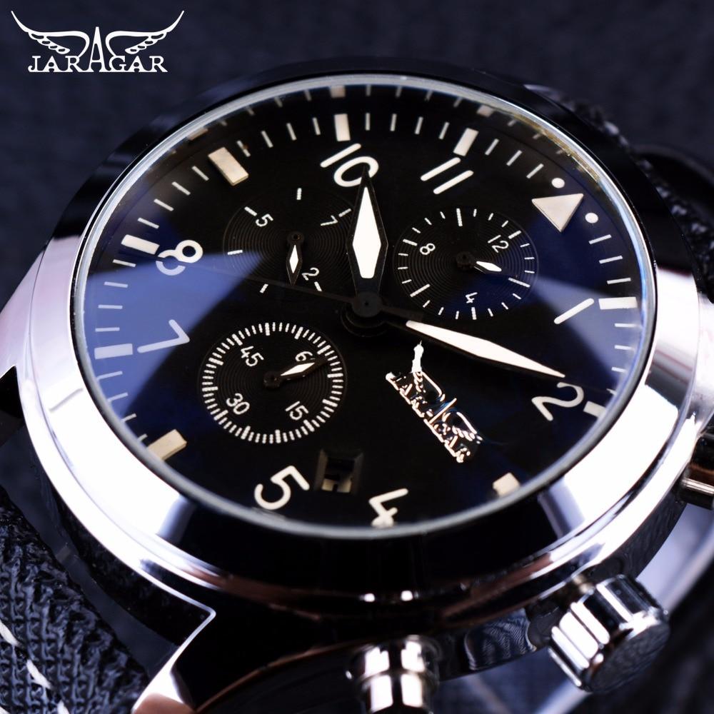 Jaragar Navigator Fashion Series Calendar Display 3 dial 6 Hands Watches Genuine Leather Strap Men Luxury Brand Automatic Watch<br>