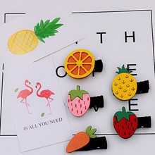 1Set (1 Elastic Hair Bands+1 Head Clip) New Children Headdress Card Cute Strawberry Fruit Pineapple Colorful Hair Clip Hairpin(China)