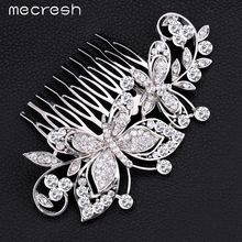 Mecresh Crystal Rhinestone Butterfly Shape Bridal Hair Combs Silver Color Wedding Hair Jewelry for Women Best Gift MFS137