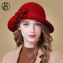FS las mujeres sombrero otoño 100% lana elegante rojo azul negro sombreros  Vintage ala ancha señoras sombreros de fieltro flor d. 300b27e7bd6