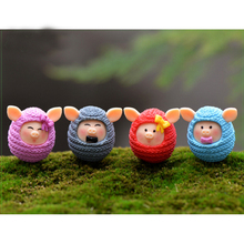 2017 New 4Pcs Fashion Cartoon Plastic Cute Mini Animal Model Puzzle DIY Lovely Wool Pig Dolls Design Kids Toy(China)
